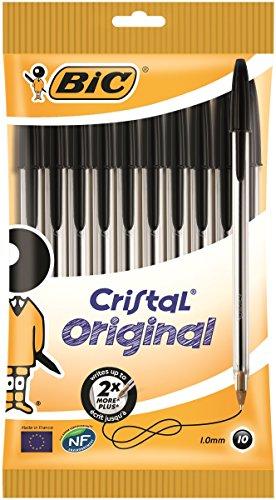 BIC Kugelschreiber Cristal Medium, 10 Kulis in Schwarz, Strichstärke 0,4 mm, Dokumentenechte Tinte