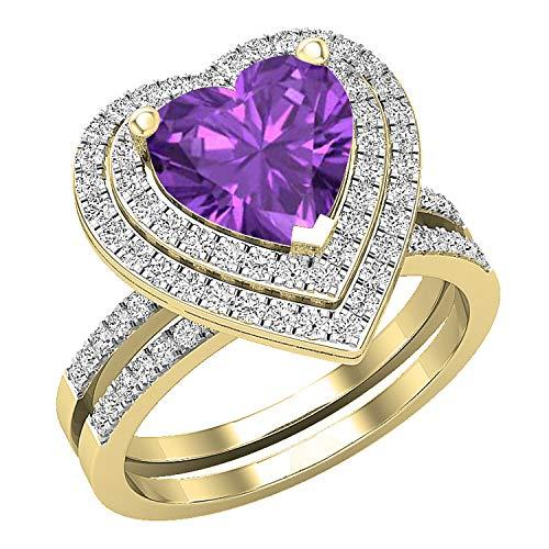 Dazzlingrock Collection Juego de anillos de compromiso de oro amarillo de 10 quilates con amatista y diamante blanco redondo de 8 mm, tamaño 9