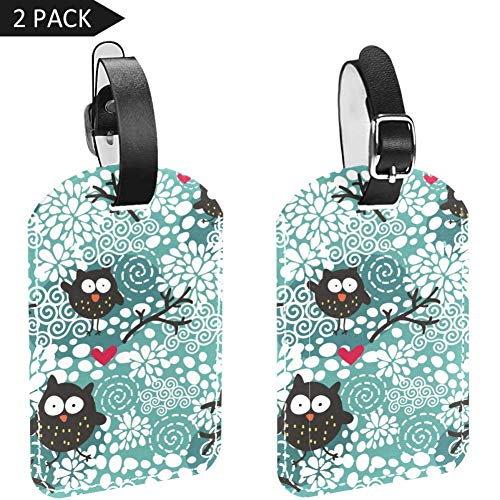 Luggage Tags Winter Owls and Snow Leather Travel Suitcase Labels 2 Packs
