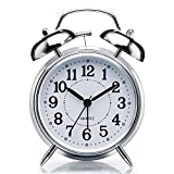 SHARPLOOK Brass Vintage Twin Bell Table top Alarm Clock with Night LED Light Display Copper Alarm Clock for Bedroom Heavy Sleepers Kids and Students (Silver-White-Small)