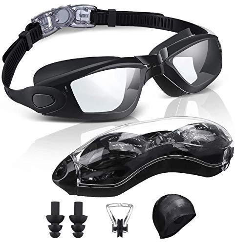 SGODDE Gafas de Natación Antivaho, Protección UV Gafas para Nadar,Sin Fugas Ajustable Gafas de Buceo con Gorro de Natacion Suave,Clip de Nariz,Enchufe de Oído,Funda Protectora,para Hombre Mujere Niño