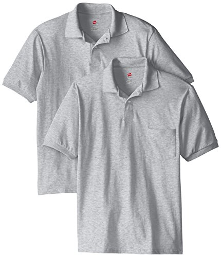 Hanes Men's Short Sleeve Jersey Pocket Polo, Light Steel, Large (Pack of 2)