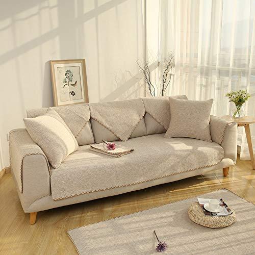 OKJK Sofamatten Aus Baumwolle Und Leinen, SSofakissenbezüge Set rutschfest Multi-Size, Dekorative Sofabezug Für Wohnzimmer Sofa Protector (YPX-005,70 * 180cm)