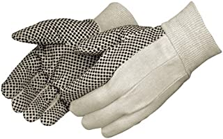Liberty 4505A 10 oz Cotton Canvas Men's Glove with Black PVC Dots On Palm (Pack of 12)