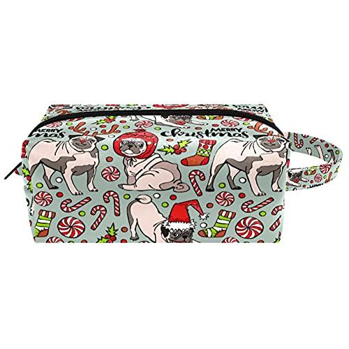 Bonitos juguetes de Navidad para cachorros de perros, dulces y viajes, bolsa de cosméticos para mujer, piel de microfibra, bolsa de maquillaje práctica con cremallera
