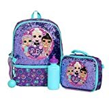 LOL Girl's 4 Piece Backpack Set, Sequined School Bag with Front Panel and Mesh Pockets, Insulated Lunch Bag, with Water Bottle and Squish Ball Dangle, Purple and Teal