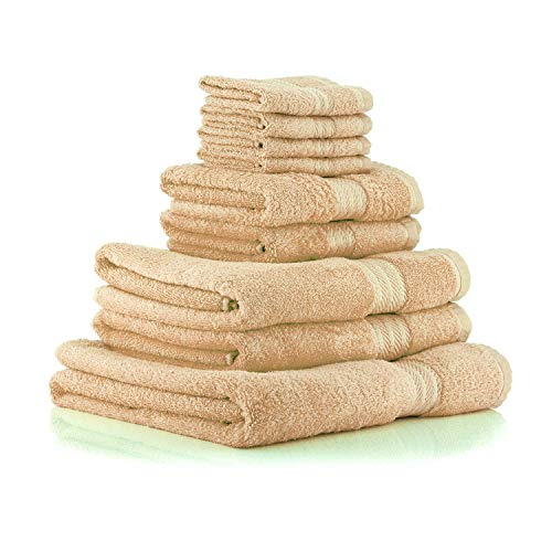 restmor Knightsbridge Juego de 9 Toallas 100% algodn Egipcio Peinado 500g/m2 Latte