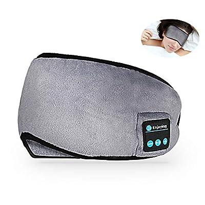 Brynnl Bluetooth Eye Mask Sleep Headphones, Wireless Music Light Blocking Sleep Eye Shades Headband Sport Headsets with Built-in Speakers Microphone Washable Soft Eye Blinder for Travel Siesta Yoga