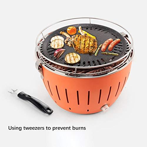 Kacsoo Draagbare barbecueoven voor binnen en buiten, rookbescherming met bakplaat en beveiliging tegen verbranding