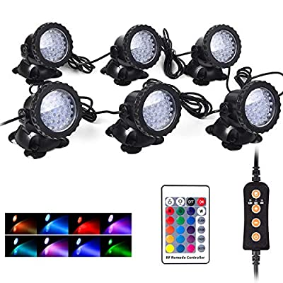 Pond Lights, Underwater IP68 Waterproof Multi-Color Dimmeable 36 LED RGB Decrate Landscape Fountain Light with Timer and RF Remote for Garden - Set of 6