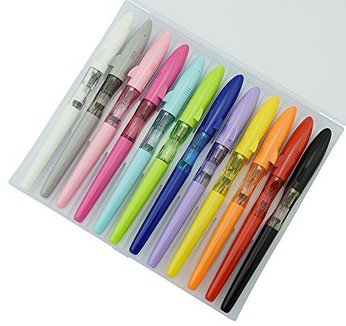 12 PCS Jinhao Mako Fountain Pen Fine Nib Diversity Color Lot Shark Pens Case Set with Refillable Converters
