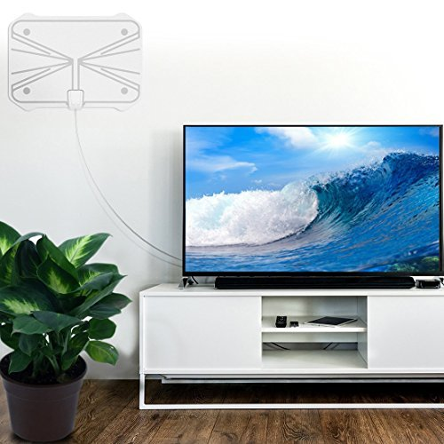 Reignet TV Antenna, 50 To 70 Mile Range Amplified, Indoor HDTV Antenna With Detachable Amplifier Signal Booster And Coax Cable, White