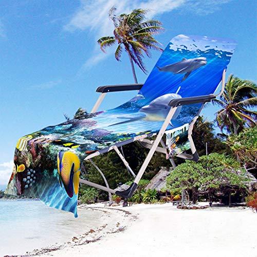 Toalla de Playa Animal Oceano Delfín Impresión Funda de Silla de Playa Portátil Microfibra Funda de Silla de Playa con Bolsillos para Tomar El Sol en Vacaciones en La Playa (Color 1, 75 × 210 cm)