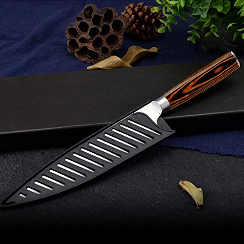 Kitchen Knife Damascus 8 inch Japanese Chef Knives VG10 Core 67 Layer Damascus Steel Santoku Meat Vegetable Wood Handle Balanced (Value pack knife)