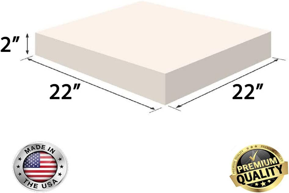 Chair Cushion Square Foam for Dinning Chairs, Wheelchair Seat Cushion Replacement FoamRush 1H x 24W x 48L Upholstery Foam High Density Firm Foam Soft Support