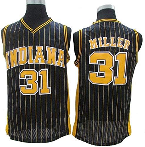 XZWQ Camisetas De Baloncesto para Hombre, NBA Indiana # 31 Miller City Edition Jersey Malla Bordada Baloncesto Swing Hombres Jersey,Negro,M