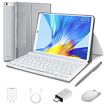 2 in 1 Tablet 10 inch 1080P Full HD Tablet with Keyboard, High Performance Android Tablets 10.0, Ultra-Fast 4GB RAM, 64GB Storage/128GB Expansion, Bluetooth 4G Wi-Fi, GPS