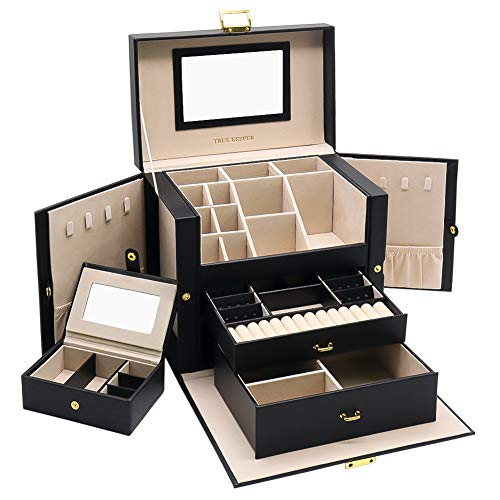 01 Jewelry Box, 3 Layers Jewelry Organizer with Mirror and Small Portable Case for Earrings Rings Necklaces Bracelet Storage (Black)