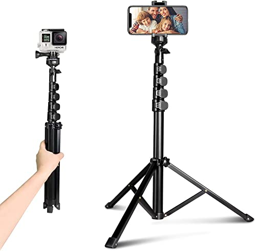 "62"" Phone Tripod Accessory Kits, Aureday Camera & Cell Phone Tripod Stand with Bluetooth Remote and Universal Tripod ..."