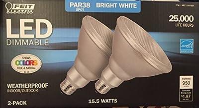 Feit Weatherproof 2-Pack 15-Watt 3000K Bright White Par38 LED Light Bulbs 90W
