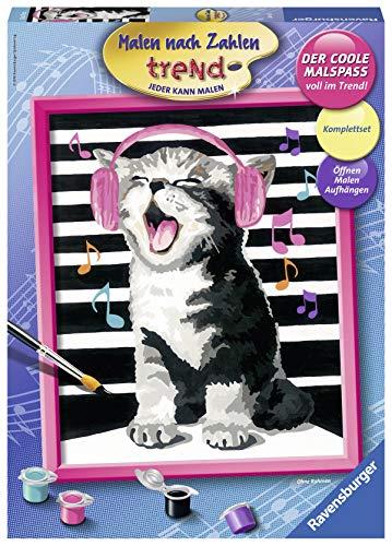 Ravensburger Malen nach Zahlen 28431 - Singing Cat - Perfektes Malergebnis durch hochwertiges Künstlerzubehör, ohne Rahmen