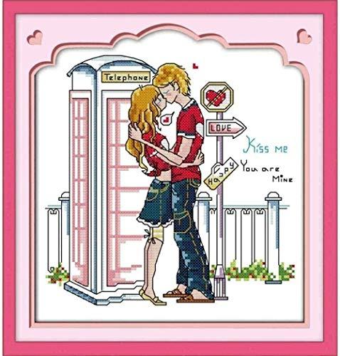 ZOOLD Kreuzstich Kits Liebe Kuss 40X50cm DIY Kreuzstich-für Erwachsene Kinder Anfänger-Kunst Hand 11CT vorgedruckte Leinwand