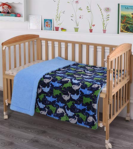 Kids Baby Toddler Super Soft and Cozy Blanket, 40 x 50, Blue Green Plush Sherpa backing Blanket for Boys Kids Toddlers, Blue Green Sharks design blanket, Quality material Kids Blanket Throw
