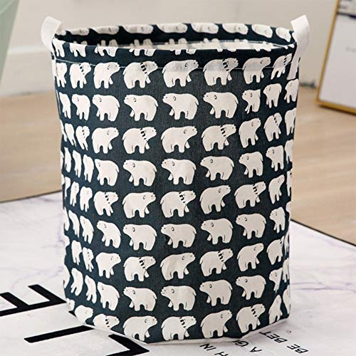 AINH Printed Cotton Linen Laundry Hamper With Handle,Foldable Portable Laundry Basket,Large Capacity Stable Waterproof Laundry Sorter A 43x37.5cm(17x15inch)