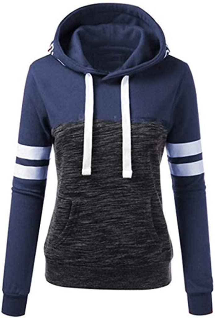 Girls' Hoodie, Misaky Fall Casual Patchwork Stripes Pocket Long Sleeve Pullover Hooded Sweatshirt Tops Blouse