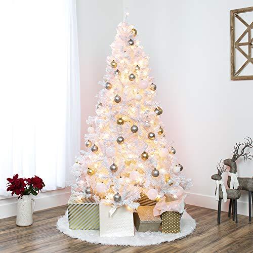 6ft Pre-Lit White Christmas Pine Tree