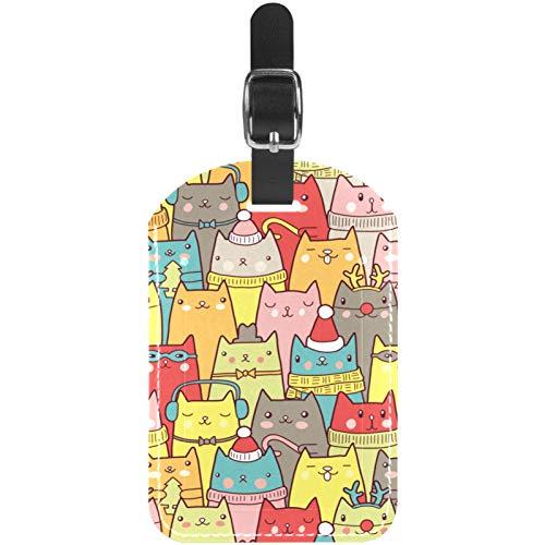 Etiquetas de equipaje navideñas divertidas y coloridas con diseño de caras de gatos de cuero, 1 paquete