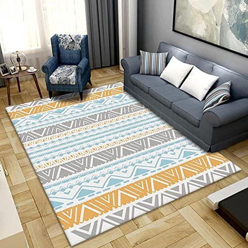 Alfombra de dormitorio antideslizante de 60 x 90 cm, cómoda alfombra para yoga, para niños, sala de estar, dormitorio, alfombra de interior, alfombra de jardín (geometría retro)