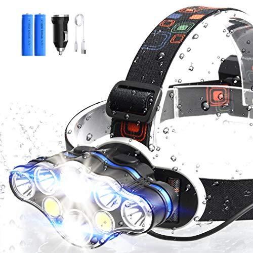 ERAY Linterna Frontal LED Recargable Alta Potencia 8 LEDs/ 10000 Lúmenes/ 8 Modos/ IPX4 Impermeable/USB Cable/Cargador de Coche/ 2 Baterías/Alcance de 500M, Ideal para Casco, Bicicleta o Camping