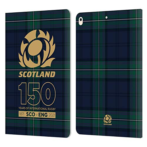 Official Scotland Rugby Tartan 150th Anniversary Leather Book Wallet Case Cover Compatible For Apple iPad Air (2019)