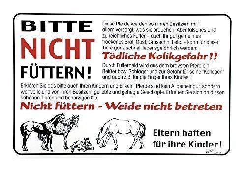 Hinweisschild - Pferde bitte nicht füttern - 308626 - Gr. ca. 30cm x 20cm - Landwirtschaft Tiere Pferd