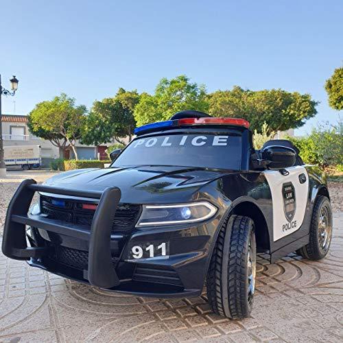 KINGTOYS - Auto elettrica per bambini, polizia, 60 W, colore: nero