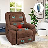 Fabric Power Recliner Chair, Massage Recliner with Heated and Remote Control, Electric Home Theater Seating for Living Room, Office, Bedroom (Brown)