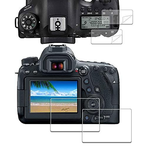 iDaPro - Pellicola proteggi schermo in vetro temperato per Canon EOS 6D Mark II + pellicola proteggi schermo superiore in PET [2+2 pezzi)