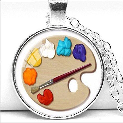 Color Palette Photo Cabochon Glass Pendant Necklace, Art Picture Handmade Jewelry