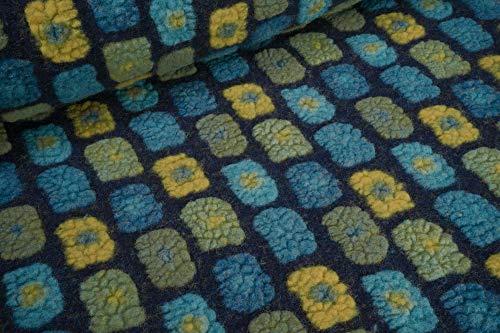 mollipolli-Stoffe Wollwalk Musterwalk mit Baumwolle Rechtecke Petrol senf grün auf dunkelblau 0,5m