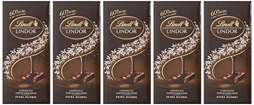 Lindt & Sprüngli Lindor Tafel Extra Dunkel 60%, 5er Pack (5 x 100 g)