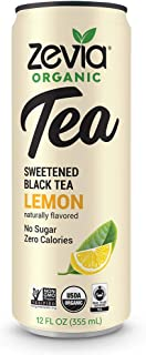 Zevia Organic Black Tea Lemon, 12 Count, Sugar-Free Brewed Iced Tea Beverage, Naturally Sweetened with Stevia, Zero Calories, No Artificial Sweeteners
