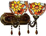 ZAMAX Lámpara de pared industrial Tiffany, estilo 2, ligera, de cristal colorido, de bronce, base de metal, para salón, dormitorio, pasillo, lámpara de pared E27