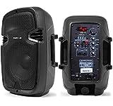 SHARD-LAB - COPPIA CASSE AMPLIFICATE ATTIVE KARAOKE DJ PALESTRA 600W 8' con bluetooth + radio + usb/sd