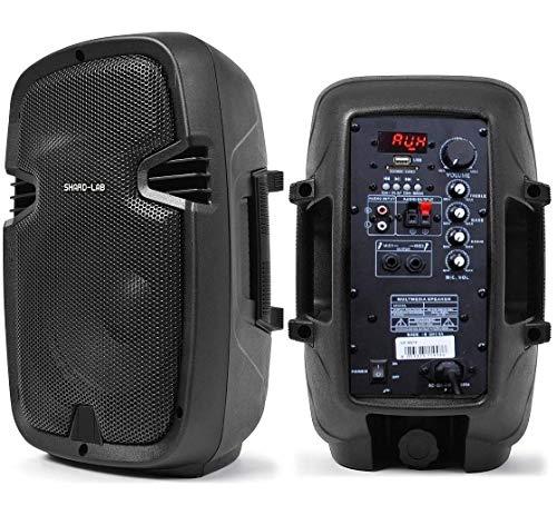 "SHARD-LAB - COPPIA CASSE AMPLIFICATE ATTIVE KARAOKE DJ PALESTRA 600W 8"" con bluetooth + radio + usb/sd"