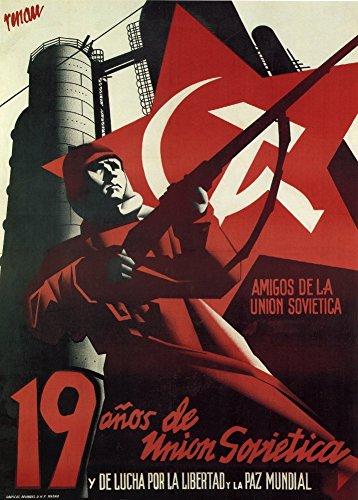 Vintage Guerra Civil Española 1936–39Propaganda FRIENDS de La Unión Soviética 250gsm ART tarjeta brillante A3reproducción de póster