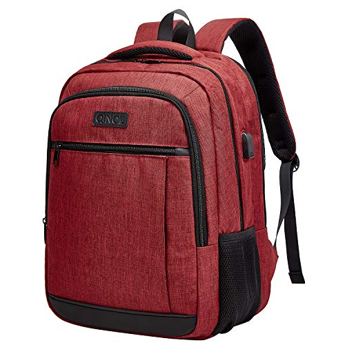 QINOL Travel Laptop Backpack Water-Proof Anti-Theft School Bag with USD Hub for 15.6 Inch Computer, Ultralight Business Bag, 5 Color (Red)