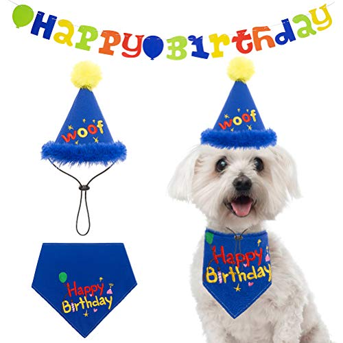 Dog Birthday Bandana Boy with Hat, Dog Birthday Banner - Dog Birthday Party Supplies- 15pcs Colorful Banners Decorations Kit for Puppy Party Accessory