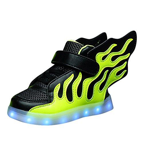 Kinder Jungen Mädchen Unisex Multi-Color-Blink Turnschuhe mit Bunte LED aufladende Leuchtende Sportschuhe Sneakers mit Flügel-Art mit USB Outdoor 4 Colors Modes Shoes, Super Tolles Geschenk