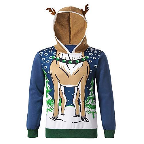 yazidan Weihnachtspullover Herren Hoodies Top Sweater Pulli Sweatshirt Weihnachtspulli weihnachtlichen Kapuzenpullover Mit Kapuze